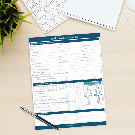 Chiropractic Adult Patient Questionnaire intake form