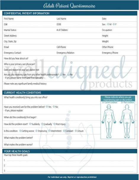 Chiropractic patient intake form