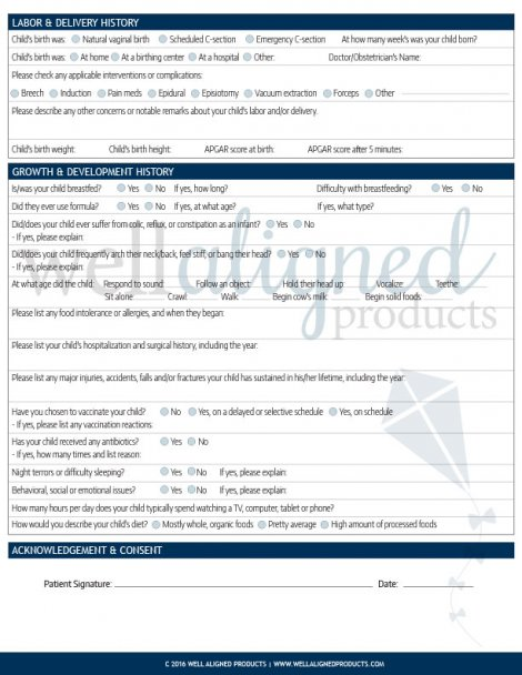 Customized Chiropractic Intake Forms