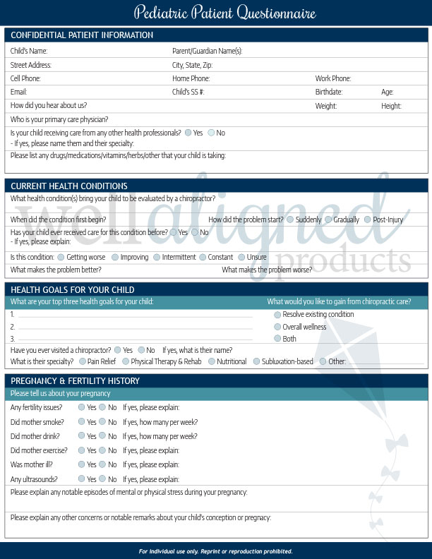 Pediatric Intake Forms - Well Aligned Products