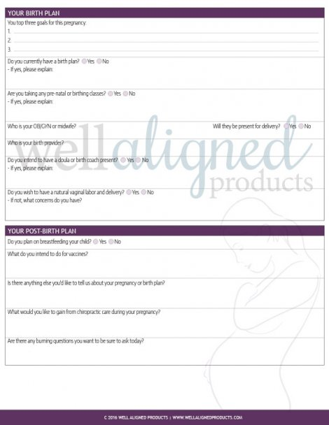 Pregnancy Intake Form for Chiropractic