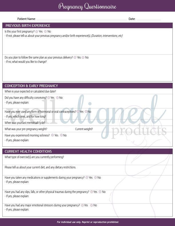 pregnancy intake questionnaire well aligned products