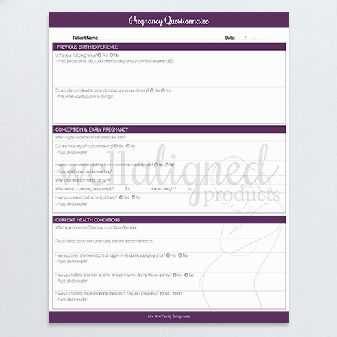 Chiropractic Pregnancy Questionnaire patient intake form