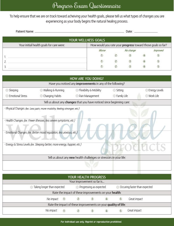 Chiropractic Progress Exam Forms