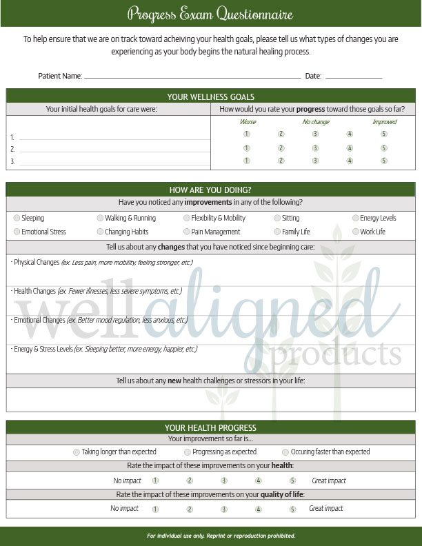Progress Exam Forms - Well Aligned Products