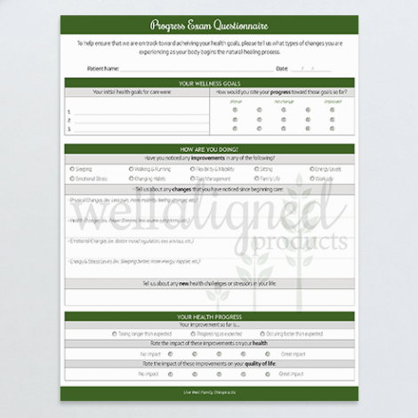 Chiropractic progress exam questionnaire form patients fillable